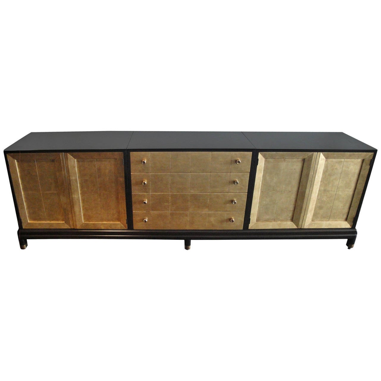 Renzo rutili gold leafed and ebonized sideboard for for Sideboard gold
