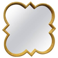 Quatrefoil Parchment Mirror in the Style of Karl Springer