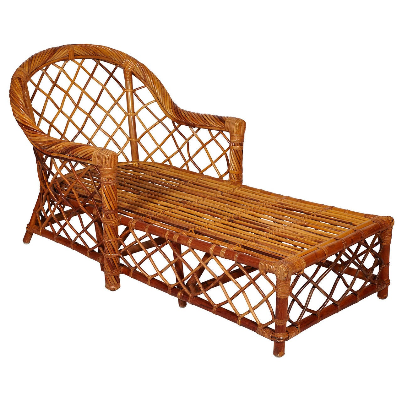 Bielecky bros rattan chaise lounge image 4 for Bamboo chaise lounge