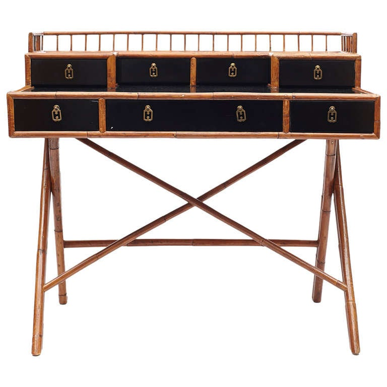 Black Lacquer And Bamboo Desk At 1stdibs
