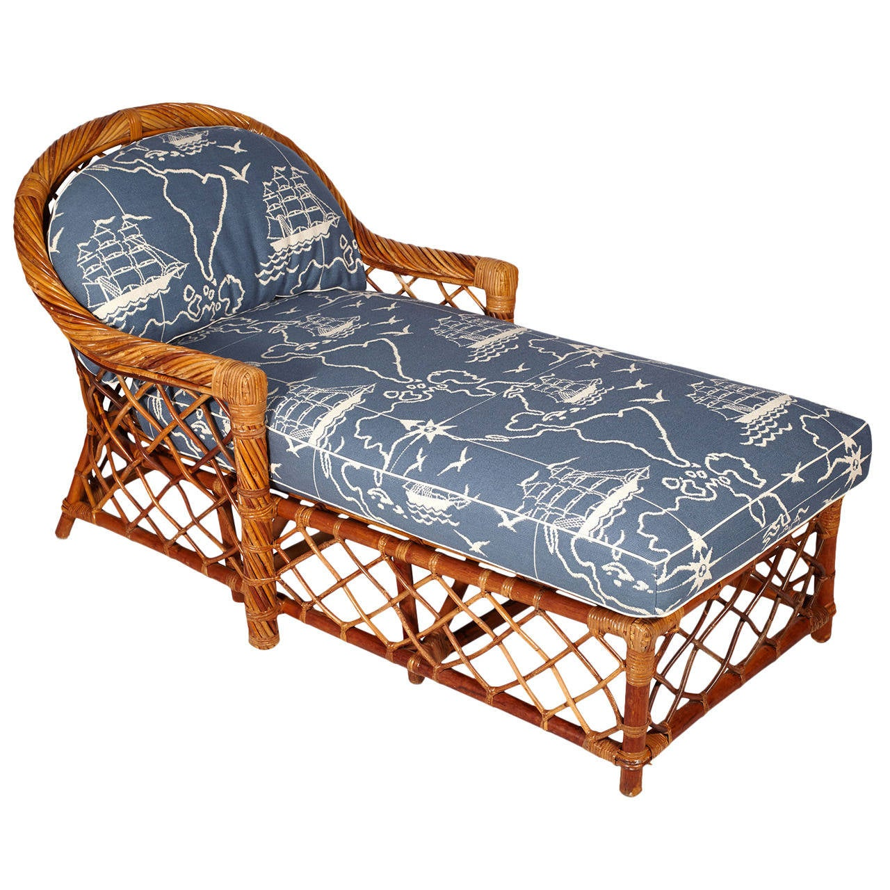 Bielecky bros rattan chaise lounge at 1stdibs for Bamboo chaise lounge
