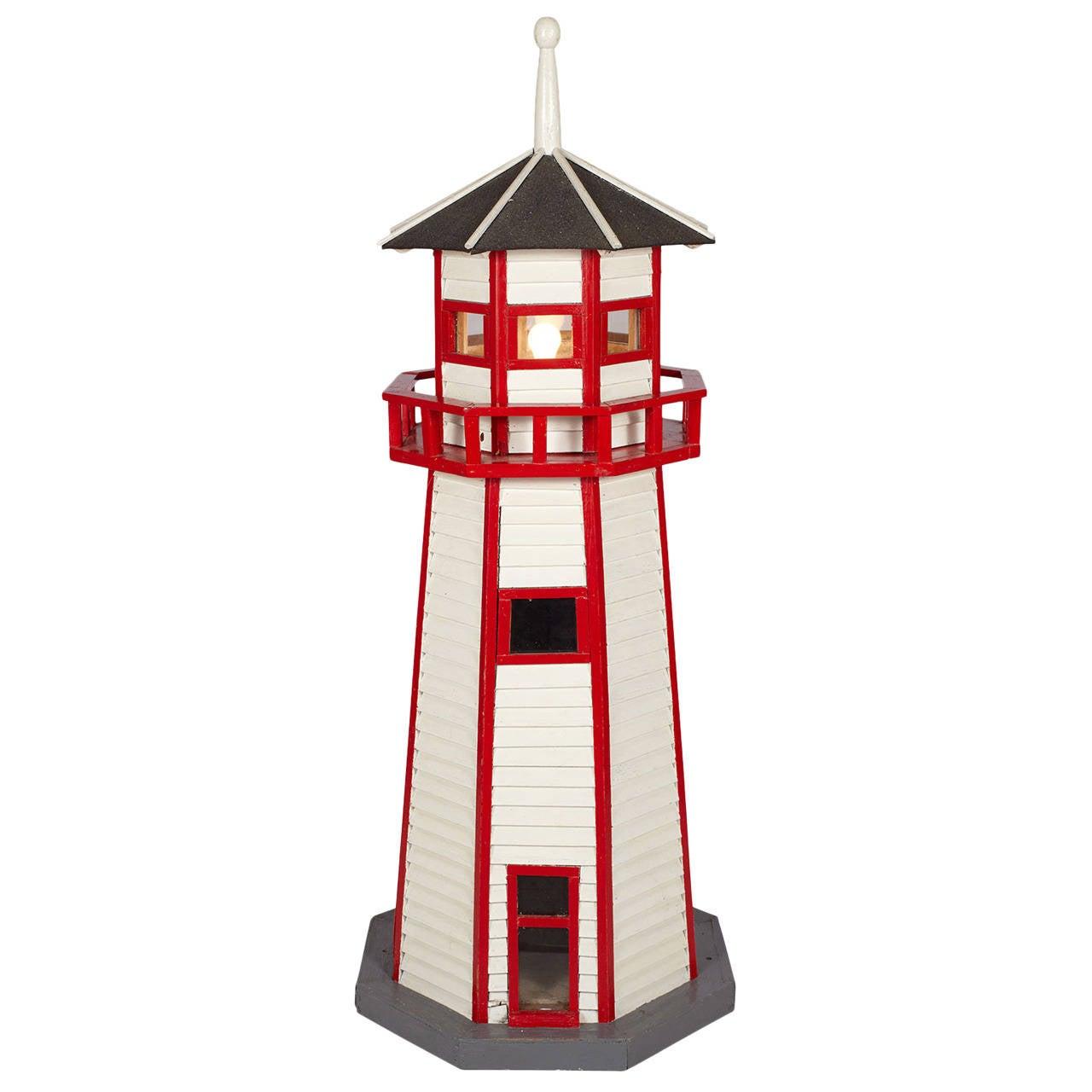 Large Folk Art Lighthouse Floor Lamp For Sale