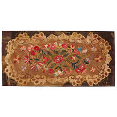 Late 19th Century Oversized American Floral Hooked Rug