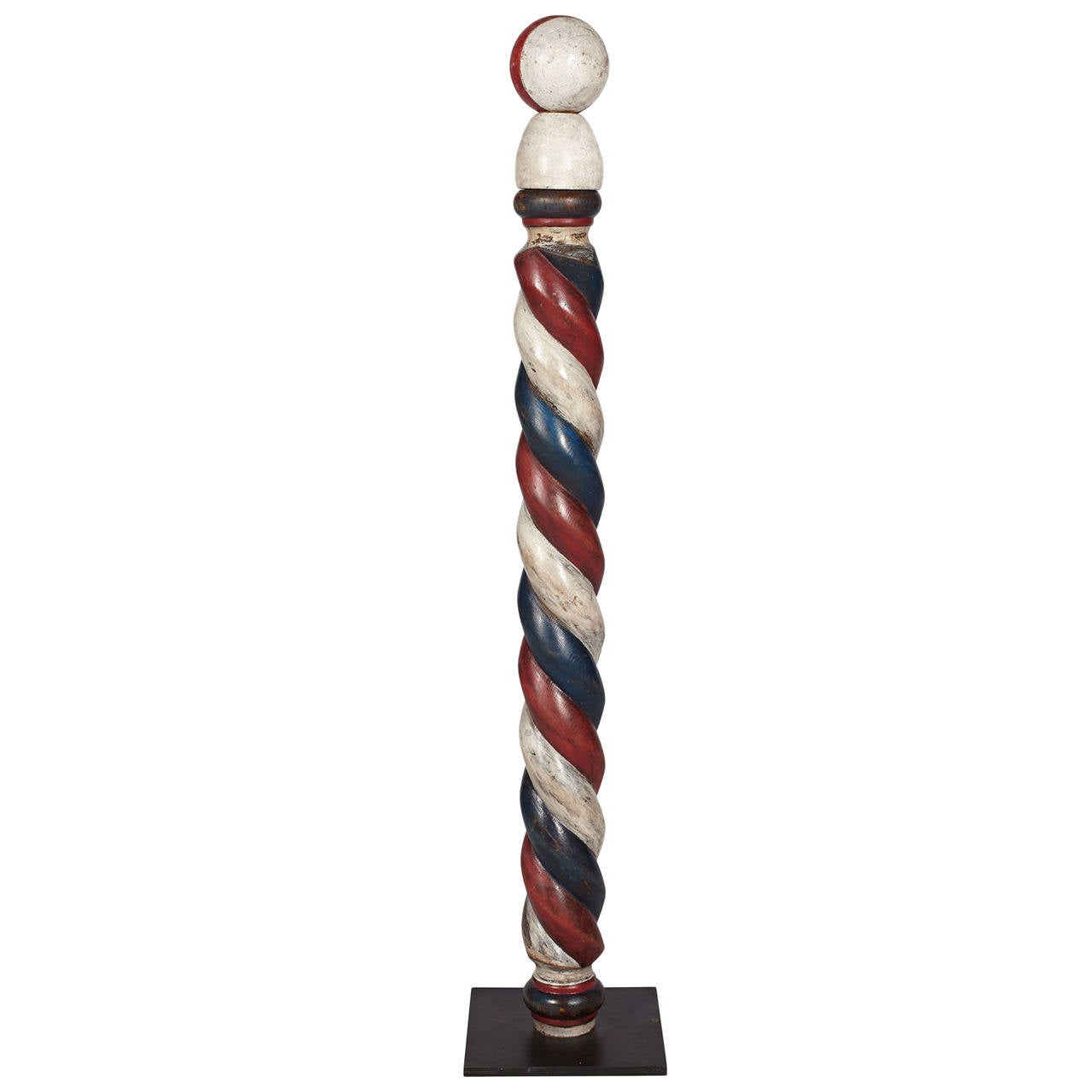 Antique Barber Pole on Metal Stand at 1stdibs