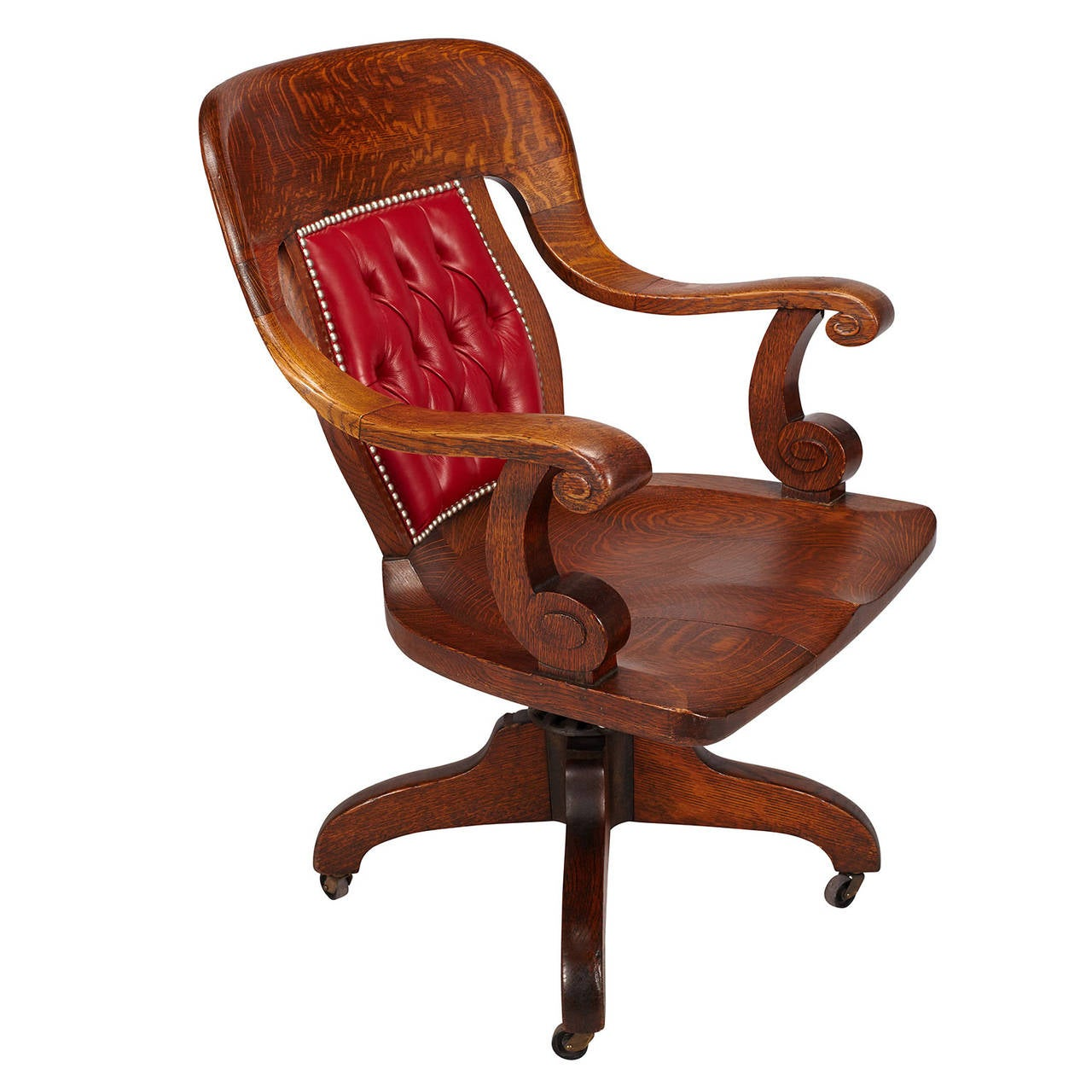 Oak Swivel Banker S Chair At 1stdibs