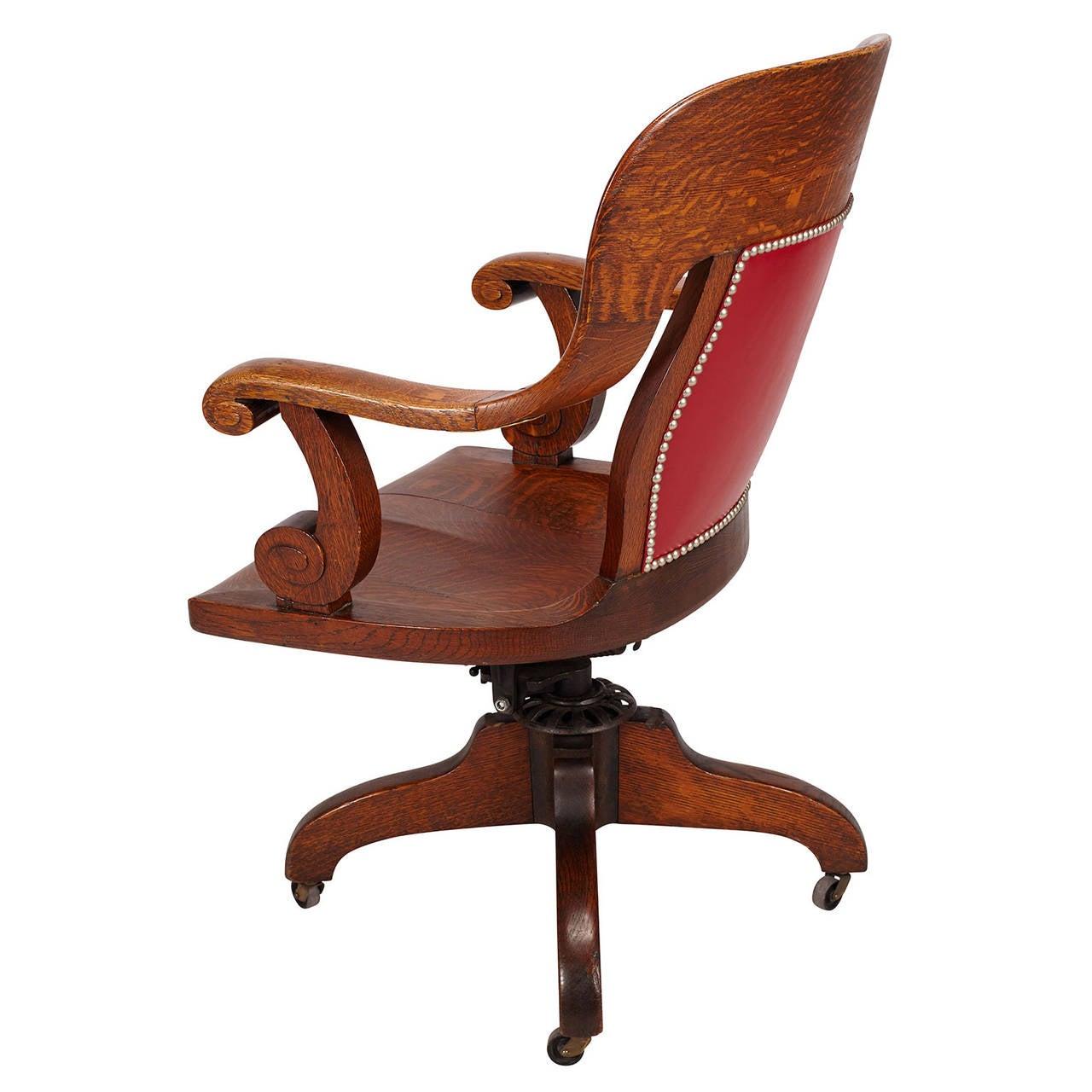 oak swivel banker 39 s chair at 1stdibs