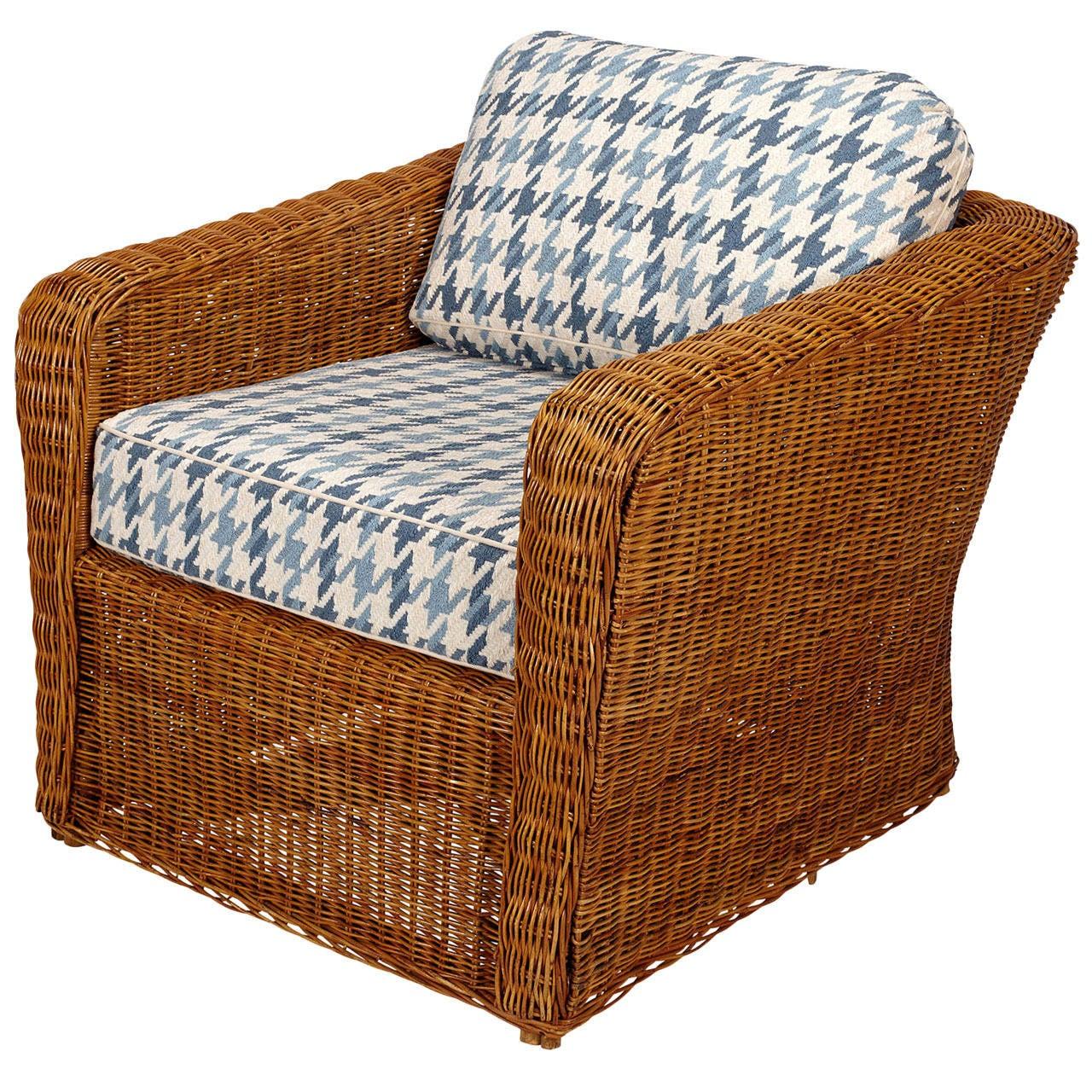 Wicker club chair, 20th century