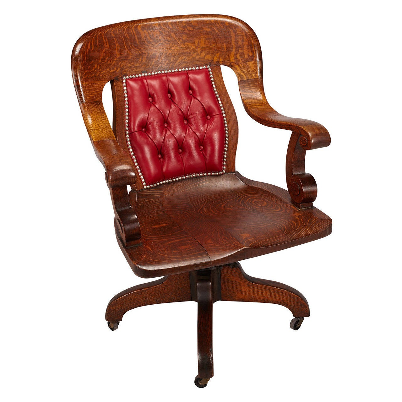 Oak swivel banker 39 s chair at 1stdibs for Antique office chair