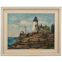 Oil on Canvas Painting of a Lighthouse