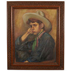 'Frowning Cowboy' Painting within Intricate Wood Frame