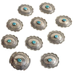 Ten-Piece Sterling Silver Set of Turquoise Concha Belt Components