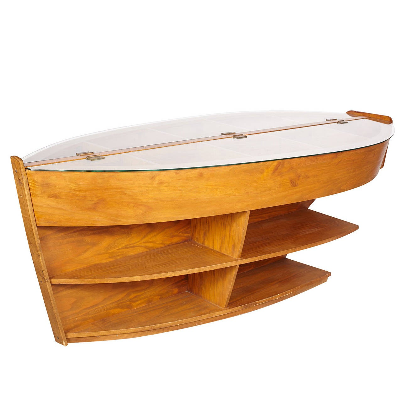 Wooden boat library case table for sale at stdibs