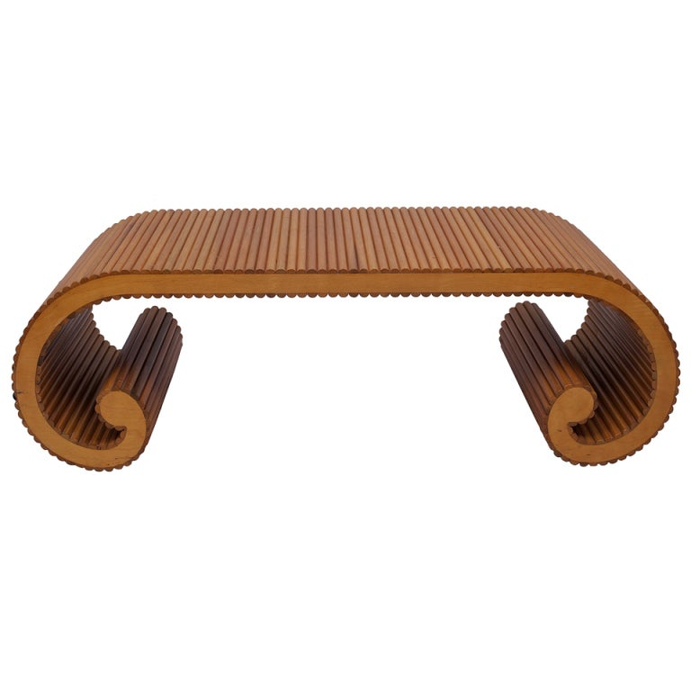 Rattan scroll coffee table for Antique scroll coffee table
