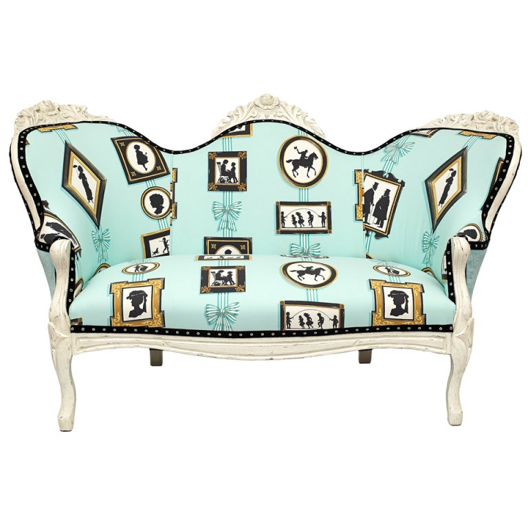 19th C. Diminutive American Victorian Upholstered Settee 1