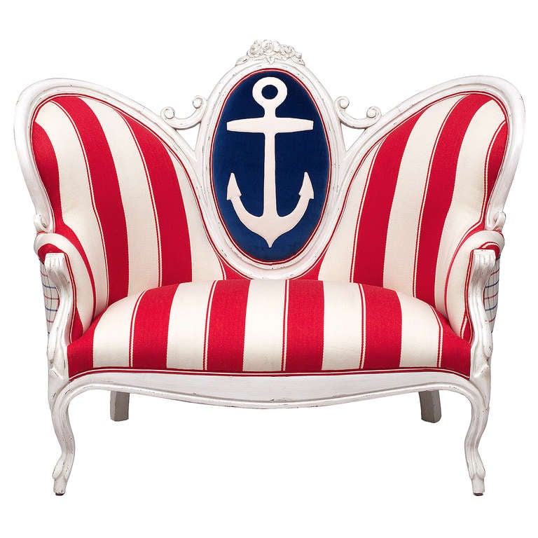 Victorian Anchor and Stripe Settee 2