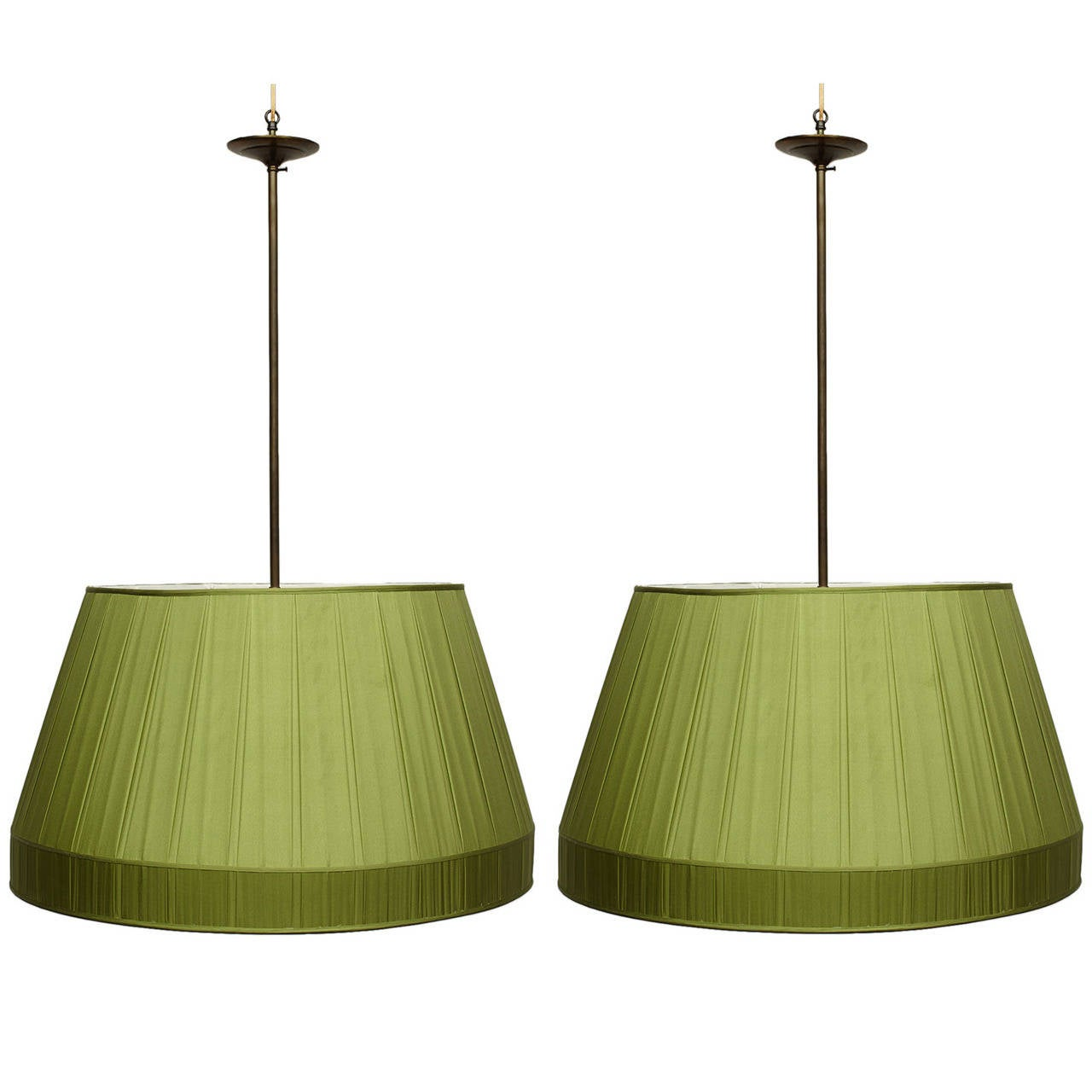 Pair of Oversized Silk Billiard Light Fixtures