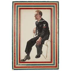 Vintage World War II Framed Sailor Illustration