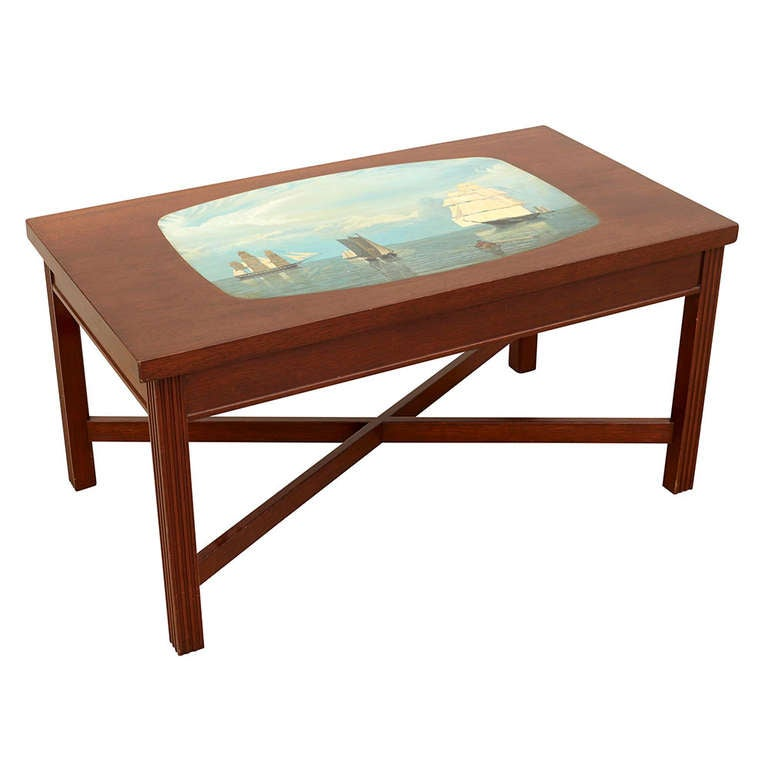 Painted nautical coffee table at 1stdibs Painted coffee table