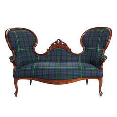 19th Century Carved Mahogany Sofa