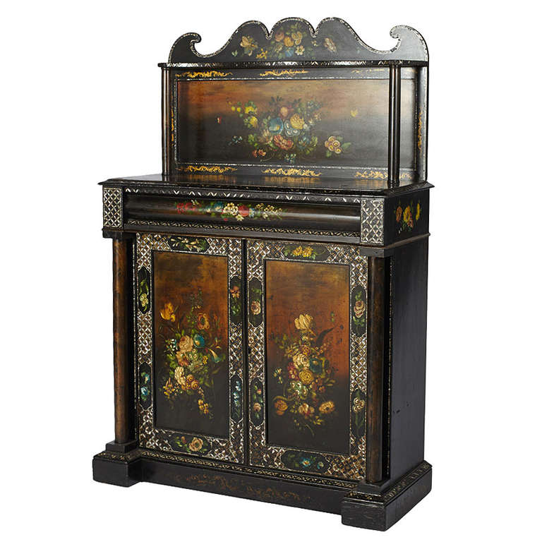 English Mother Of Pearl Painted Victorian Cupboard For