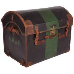 Green Antique Leather Tack Chest from the Dupont Family