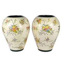 Large Italian Majolica Ceramic Jars