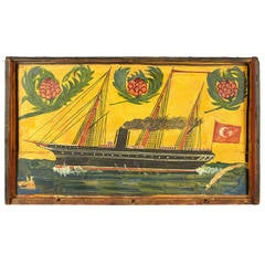 Turkish Folk Art Painting of Ship on Lid of Wooden Trunk