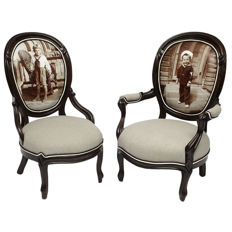 Pair of Victorian Sailor Boy Giclee Parlor Chairs For