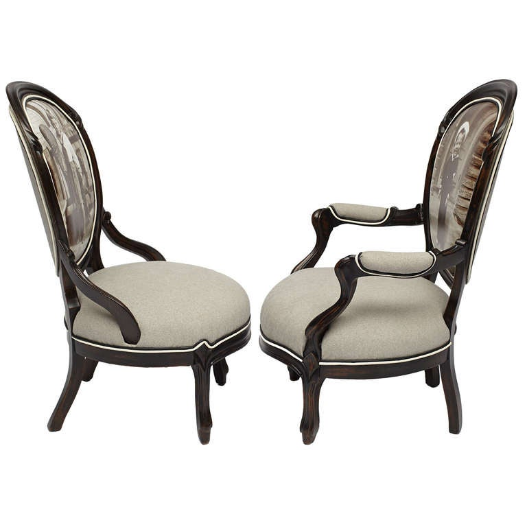 Pair Of Victorian 39 Sailor Boy 39 Giclee Parlor Chairs For Sale At 1stdibs