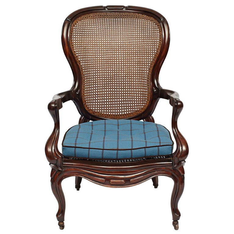Victorian rococo revival mahogany cane back armchair at for Rococo style furniture