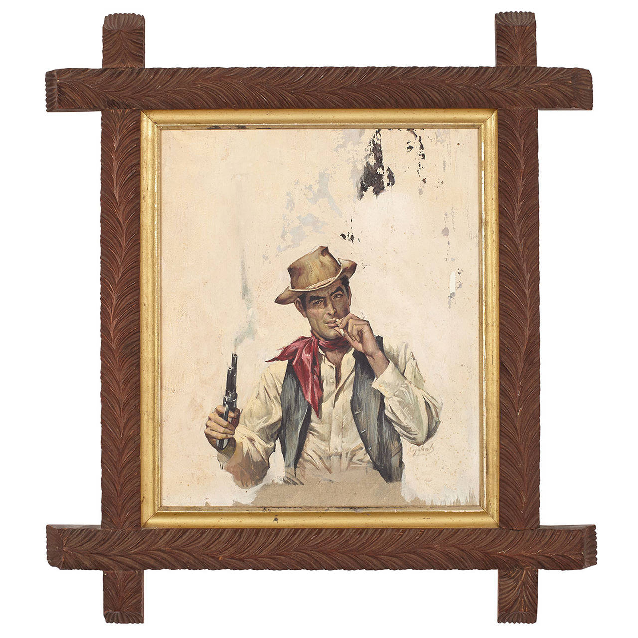 Book Cover Illustrations For Sale : Book cover illustration of cowboy in antique adirondack