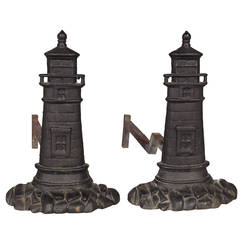 Pair of Lighthouse Andirons