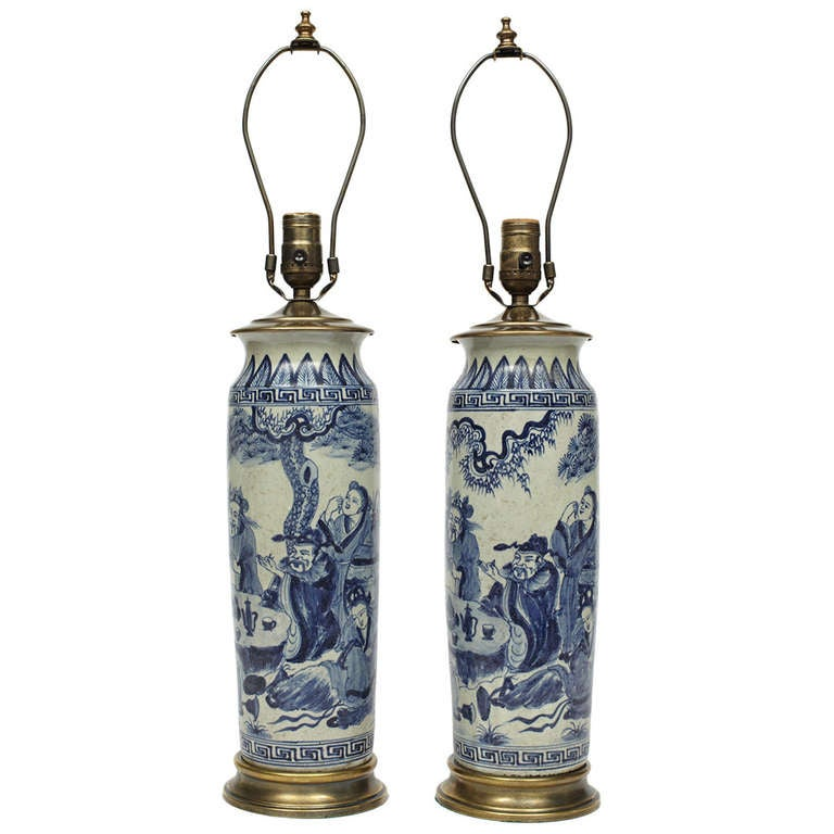 Pair Of Blue And White Chinese Vase Lamps At 1stdibs