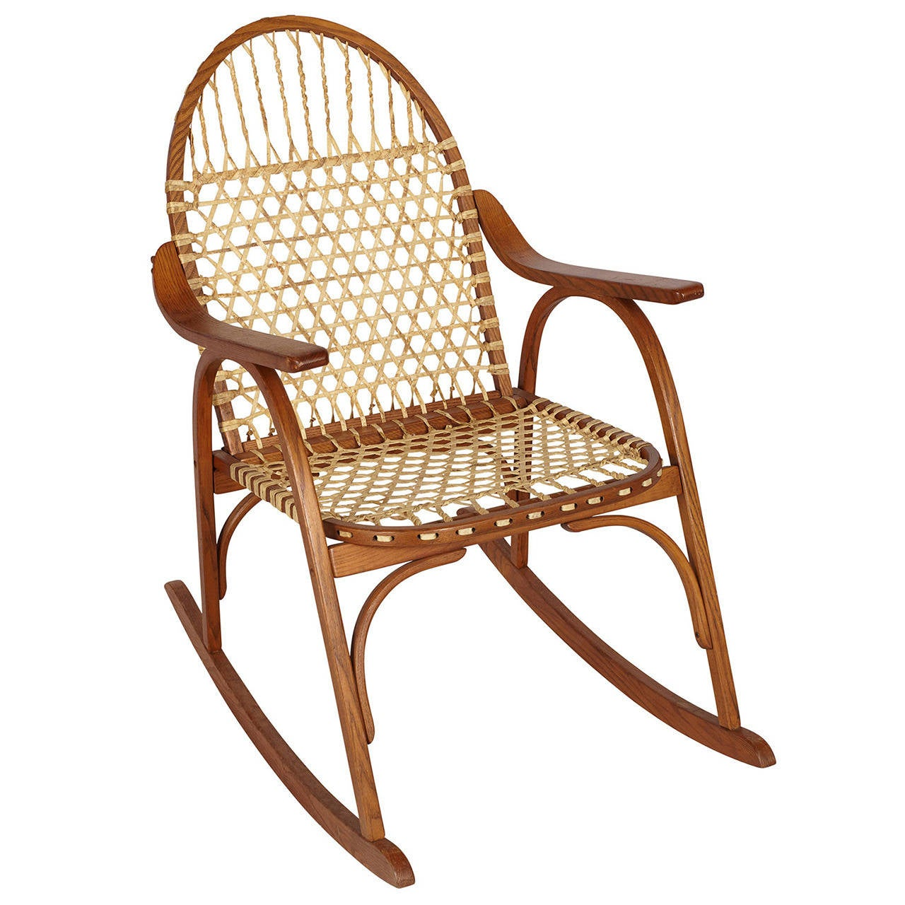 Snowshoe Rocking Chair With Rawhide Lacing For
