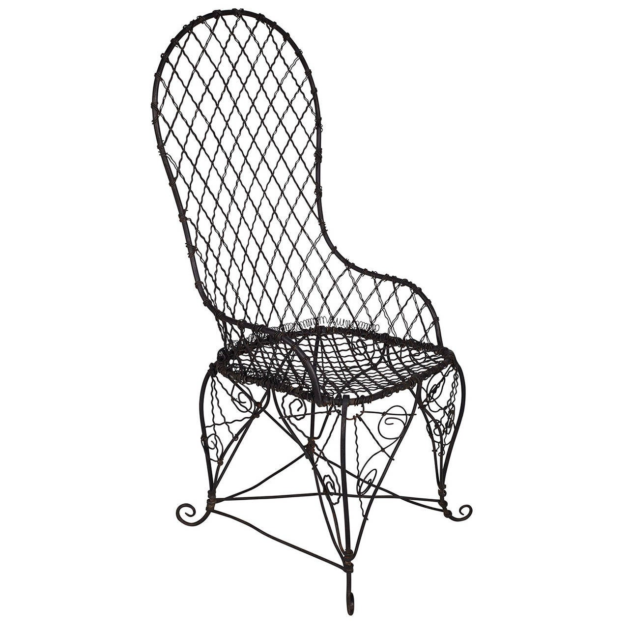 Antique Black Wire Chair