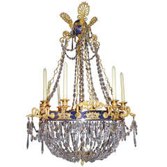 Russian Crystal and Gilt Bronze Eight-Light Chandelier