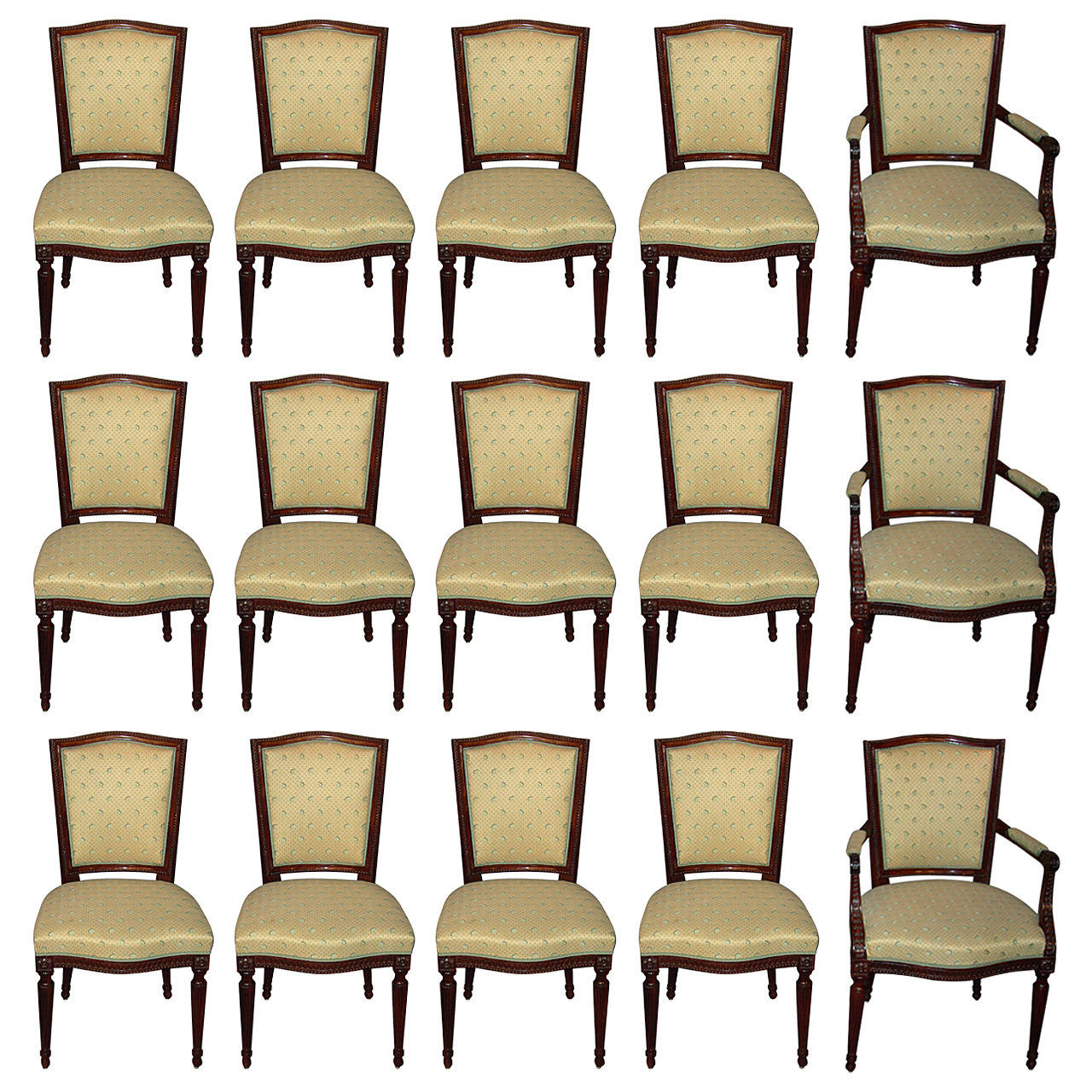 Suite of Twelve Dutch Louis XVI Chairs and Three Armchairs