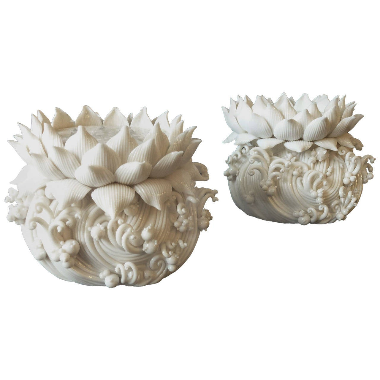 Pair of Lotus Stand Candle Holders by Peter Ting