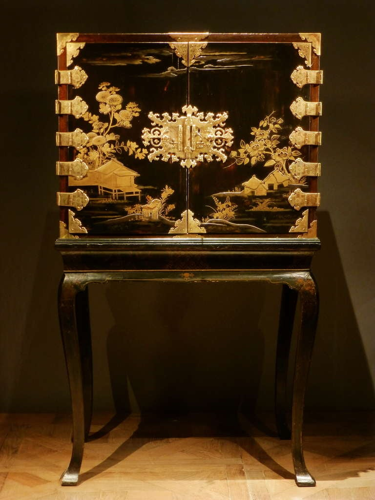 a japanese lacquer cabinet on later stand at 1stdibs