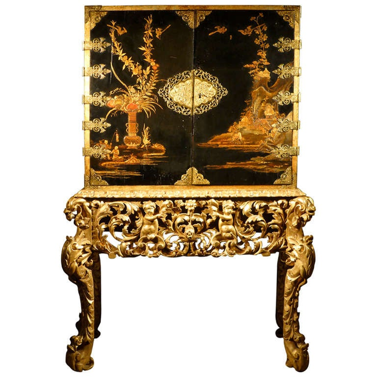 A Japanned Lacquer Cabinet On Stand