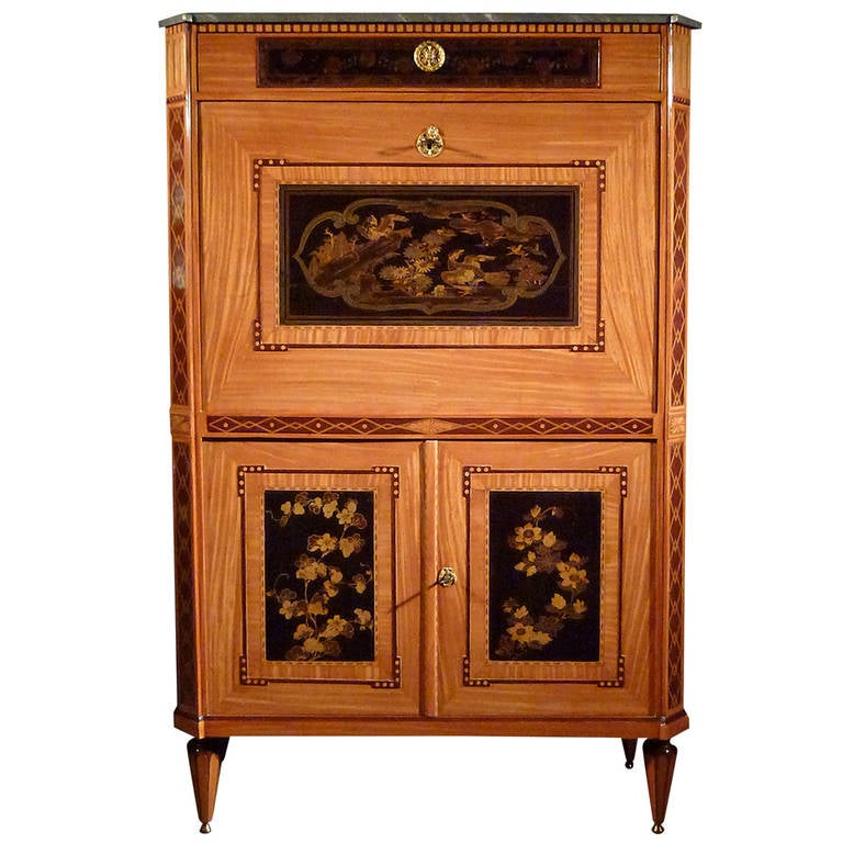 a dutch secretaire abattant with japanese laquer panels for sale at 1stdibs. Black Bedroom Furniture Sets. Home Design Ideas