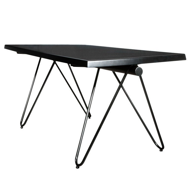 Mid Century Modern French Black Lacquered metal table or desk