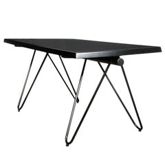 French Black Lacquered Metal Table