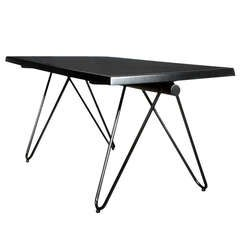 French black  lacquered metal table.