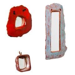 Set of ceramic  mirrors by Juliette Derel