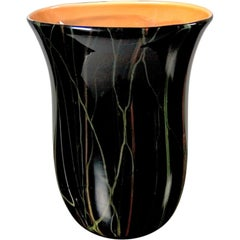Mid-Century Modern black glass vase with coral glass interior by Moretti, Italy