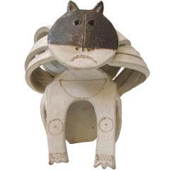 Matte Glazed Ceramic Cat By Bruno Gambone