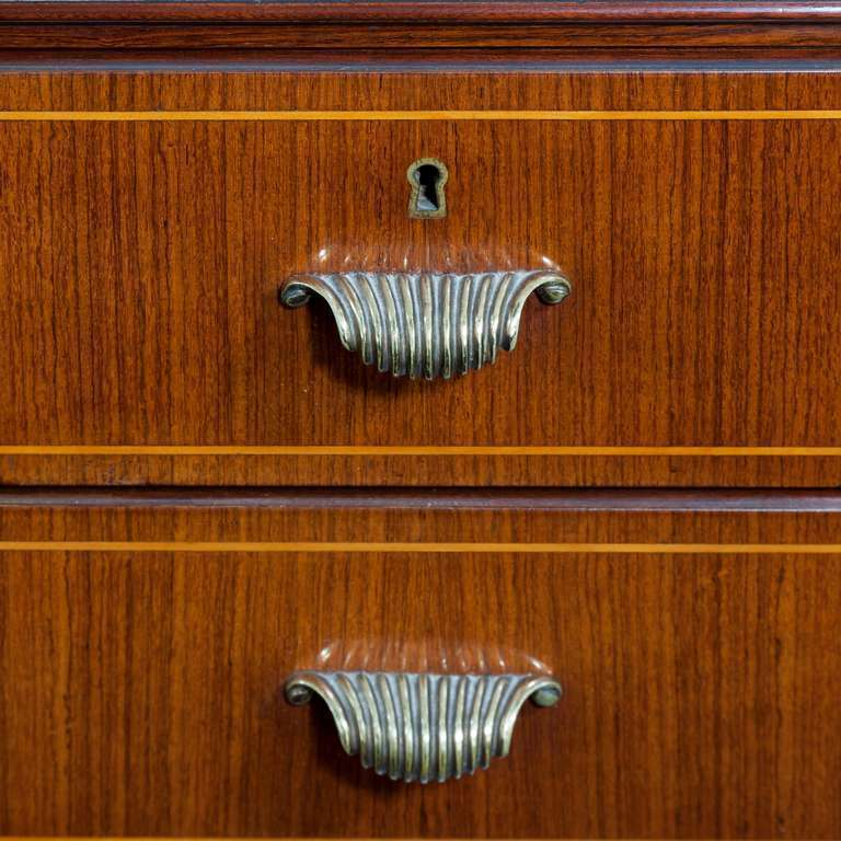 Console with drawers in palisander with fruitwood banding, and sabots and handles in brass, designed by Paolo Buffa.