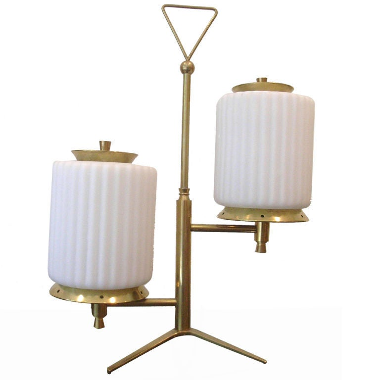 Brass And Glass Table Lamp By Arteluce For Sale