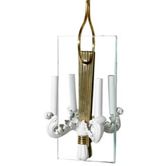Metal Brass and Glass Hall Lantern